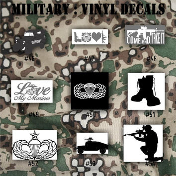 MILITARY vinyl decals - 46-54 - Army, Air Force, Navy and Marines - car decal - window sticker - vinyl sticker - vinyl decal