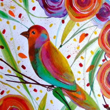 Bird Painting Bird Art Bird Wall Art Bird Fine Art Bird Flowers Bird Home Decor Cute Bird Orange Purple Animal Contemporary Art Animal