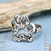 Open Paw Ring-Puppy Paw Ring-Dog Paw Jewelry-Handmade Silver Rings-Island Cowgirl Jewelry