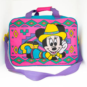 Vintage Neon Minnie Mouse Laptop Bag Tote by lapetitemarmoset