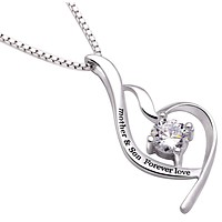 """""""Mother & Son Forever Love"""" Heart Necklace Embellished with Swarovski Crystals in 18K White Gold Plated"""