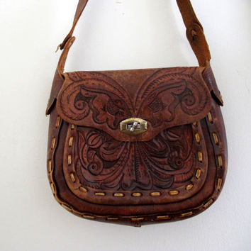 Vintage Brown Tooled Purse Bag Mexican Leather Tribal Native