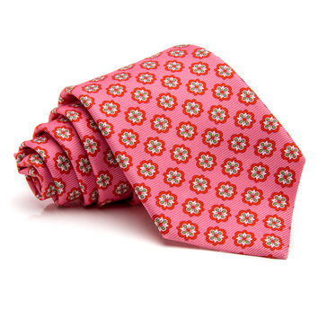 Kiton Pink with Coral Medallion Tie