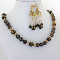 Asian Smoky Topaz Quartz Necklace Earrings Set