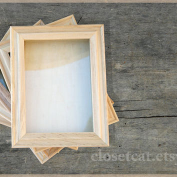 Shadow Box - Unfinished or Finished - Wooden box Keepsake box Decoupage For crafting Natural wood DIY project Supplies