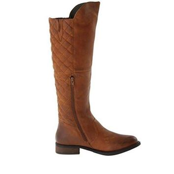 DCK7YE Steve Madden Northside - Brown Leather Tall Zip Quilted Boot