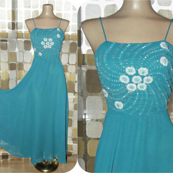 Vintage 70s Dress | 1970s Beaded Dress | Full Sweep Midi Gown | Dancing Dress | Teal Sheer Georgette | Size Small/ Medium
