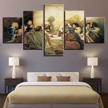 Canvas Poster Wall Art Framework Home Decor 5 Pieces Jesus Abstract Paintings Modular Living Room HD Prints Last Supper Pictures