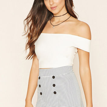 Buttoned Striped Skirt