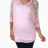 Pale-Pink-Crochet-Sleeve-Maternity-Top