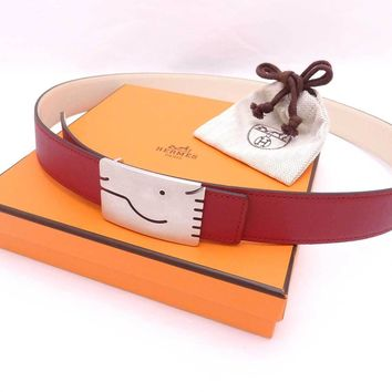 Auth HERMES Horse Motif Buckle Reversible Waist Belt Gris/Moyen Leather - e29528