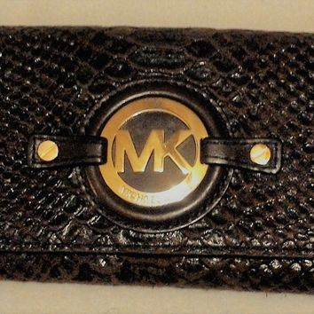 Michael Kors Fulton Caryall Mocha Python Leather Wallet Clutch
