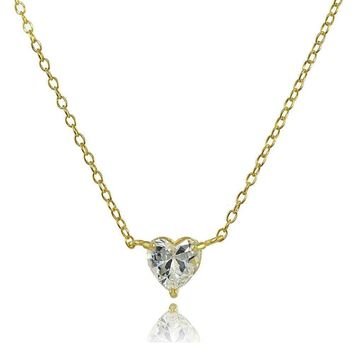 6mm Heart Solitaire Cubic Zirconia Necklace in Gold Plated Sterling Silver