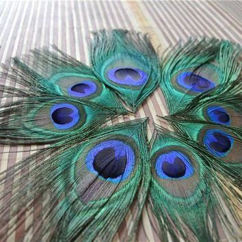 PEAPON 100pcs trimmed peacock feather peacock eye feather for costumes party design costume supply