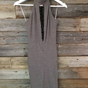 LACE UP BACKLESS DRESS - MOCHA