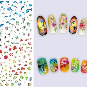 2PCS DIY Nails Art Sticker Colorful Summer Oceans Flowers Coconut Trees Element Nail Wrap Sticker Tips Water transfer