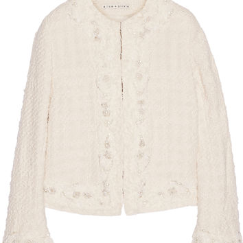 Alice + Olivia - Nila embellished cotton-bouclé jacket