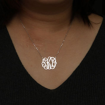 monogrammed necklace, gold monogram necklace, monogram necklaces, personalized monogrammed jewelry, - 925 Sterling silver 18k Gold Plated