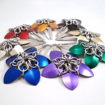 Chainmail Scale Flower Barrette 1 Custom Color by SerenityInChains