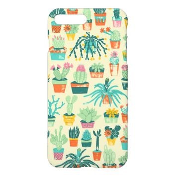 Colorful Cactus Flower Pattern Glossy iPhone 7 Plus Case