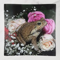 Cane toad in flowers trinket trays