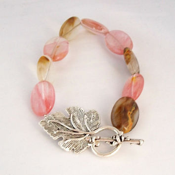 Watermelon Tourmaline Stone Bracelet with a Tibetan Silver Leaf Shaped Toggle Clasp