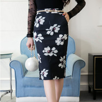 2017 Vintage Retro Painted Mid-Calf skirt Flower Floral Print High Waist Pencil Skirt Sexy Bodycon femme skirts Plus Size WR835