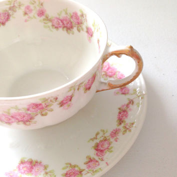 Antique GDA Limoges France Handpainted Tea Cup and Saucer Cottage Style Tea Gathering Ca. 1940 - 1950's