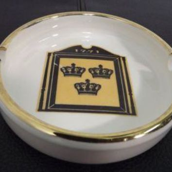 vintage Small Personal Ashtray embossed w 3 Gold Black Crowns and the Year 1771