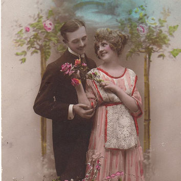 Valentine's day theme vintage postcard.Romantic lovers post card .
