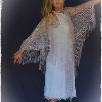 Vintage sheer lace poncho shawl / fringed gossamer fine blush pink lurex yarn wrap / dreamy hippie shawl