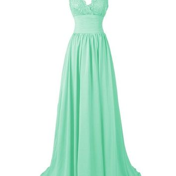 R&J Women's A-Line Floor Length Straps Sweetheart Long Lace Chiffon Prom Dress