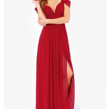 V-neck Chiffon Slit Maxi Dress
