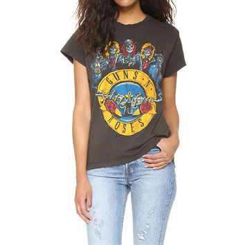 "Fashion Casual ""Guns ang Roses"" Print Loose Short Sleeve Women T-shirt Tops"