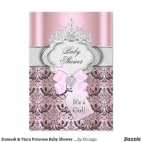Damask & Tiara Princess Baby Shower Invitation Personalized Announcement from Zazzle.com