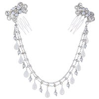 EVER FAITH Silver-Tone Austrian Crystal Cream Simulated Pearl Boho Style Bowknot Double Hair Comb Clear