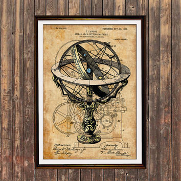 Armillary poster Patent print Antique print Steampunk decor SOL193