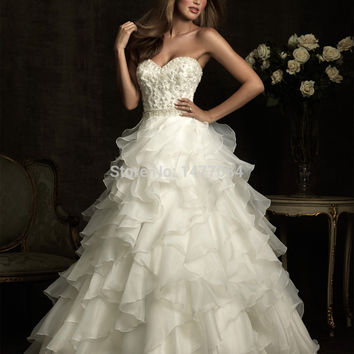 Beautiful layers & ruffles of organza wedding dresses 2015, stock bridal gowns, sweetheart ball gown with crystals & embroidery