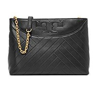 Tory Burch Alexa Leather Center Zip Tote, Black
