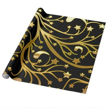 Decorative Black Gold Look Chic Christmas Stars Wrapping Paper