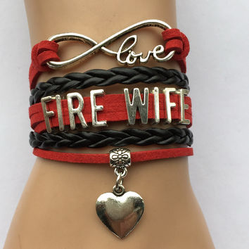 Infinity Love Fire Wife with Heart Charm Bracelet - Firefighter