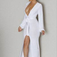 White Plunge V Neck Front High Slit Maxi Jersey Dress