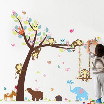 1set Jungle Animals Tree Monkey Owl Removable Wall Decal Stickers Nursery Room Decor Wall Stickers
