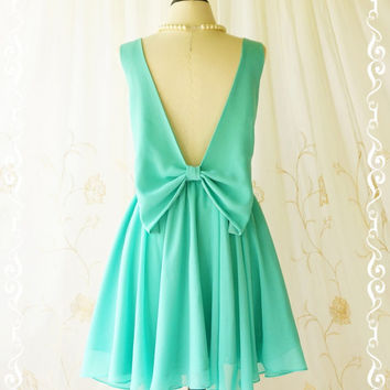 A Party Angel Dress Bright Mint Green Party Dress Green Bow Backless Prom Dress Bow Back Cocktail Dress Wedding Bridesmaid Dresses XS-XL