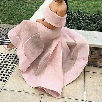 Freeshipping New Boat Neck Pink Organza Long Prom Dresses