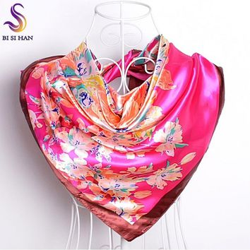 STYLEDOME Ladies Silk Scarf Wraps Square Wrapsf 90*90cm
