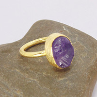 Amethyst Stack Ring - Rough Stone Ring - Natural Stone Ring - Stacking Ring - Gold Plated Ring - Gift Ideas Women - Birthday Gift Ideas