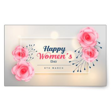 Happy Women's Day Rectangular Sticker