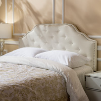Soleil Studded Edge Ivory Fabric Queen/Full Headboard