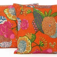 Decorative Pillow Cushion, Kantha Pillow Cover, Tropical Pillow Covers, Decorative Pillows For Couch(Set of 2)